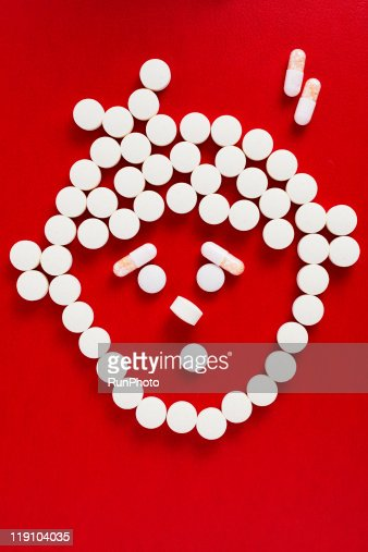 drug image,boy shaped drugs,pain : Stock Photo