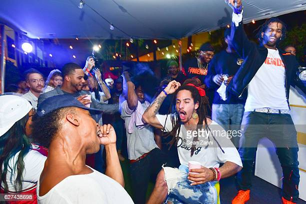 Drug Rich Peso and A$AP Mob attend A$AP Worldwide Cozy Clubhouse at The Surf Lodge Bungalow on December 2 2016 in Miami Beach FL