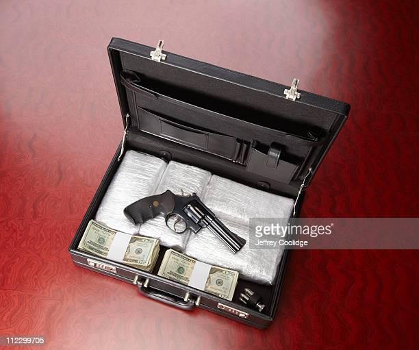 Drugs, Gun and Money in Briefcase