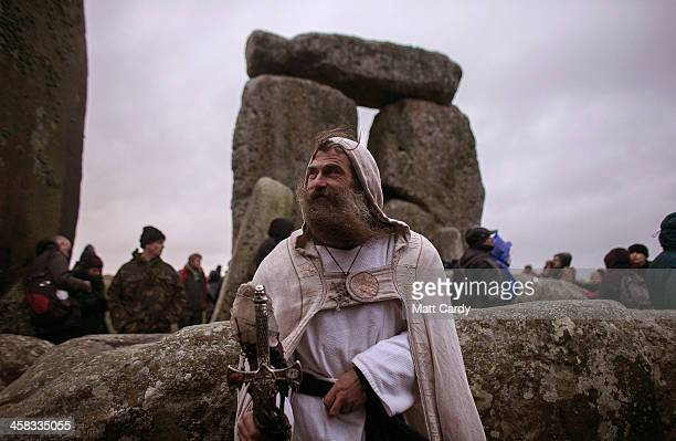 Druid Merlin poses for a photograph as druids pagans and revellers gather hoping to see the sun rise as they take part in a winter solstice ceremony...