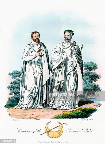 Druids 1815 An ArchDruid crowned with oak leaves holding a sceptre The other druid holds a crescent representing the first quarter of the Moon Their...