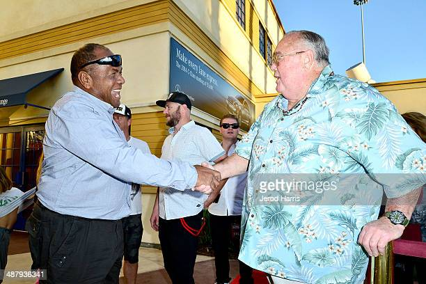 Druku Chief of Tavarua Island and Greg Noll shake hands at the 2014 Billabong XXL Global Big Wave Awards at the Grove Theater on May 2 2014 in...