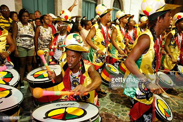 Drum band Olodum performing in Pelourinho during carnival