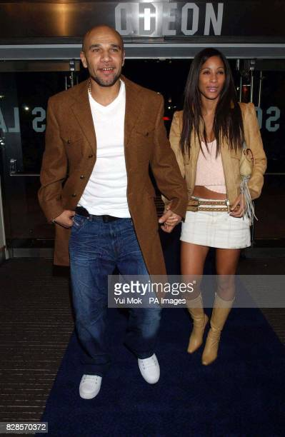 Drum Bass musician Goldie and his wife Sonya arriving at the Odeon Leicester Square London for the UK premiere of Lord of the Rings The Two Towers