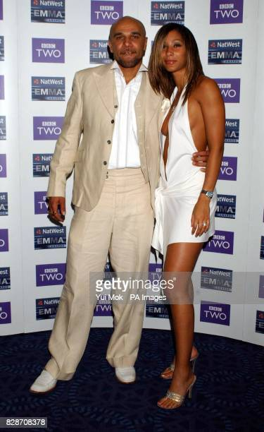 Drum Bass musician Goldie and his wife Sonya arriving for the 2003 Natwest EMMA Awards held at the Grosvenor House Hotel on Park Lane central London