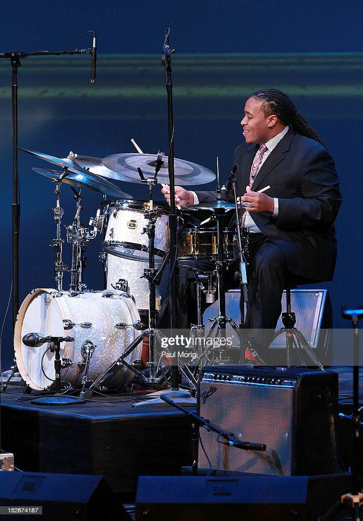Drum competition winner Jamison Ross performs at the Thelonious Monk International Jazz Drums Competition and Gala Concert at The Kennedy Center on September 23, 2012 in Washington, DC.