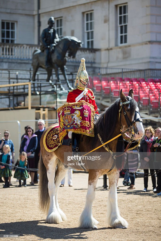A drum horse from the Household Division takes part in an Act of Reverence featuring a set of 100-year-old bagpipes at Horse Guards Parade on May 4, 2016 in London, England. The bagpipes belonged to a Pipe Major of the Regiment of the Argyll and Sutherland Highlanders who died after becoming ill in the trenches at the Battle of the Somme. The bagpipes were brought to Horse Guards Parade today for a performance to launch the Household Division's Beating Retreat concerts, which feature military drills, music and fireworks, taking place on the 8th and 9th of June.