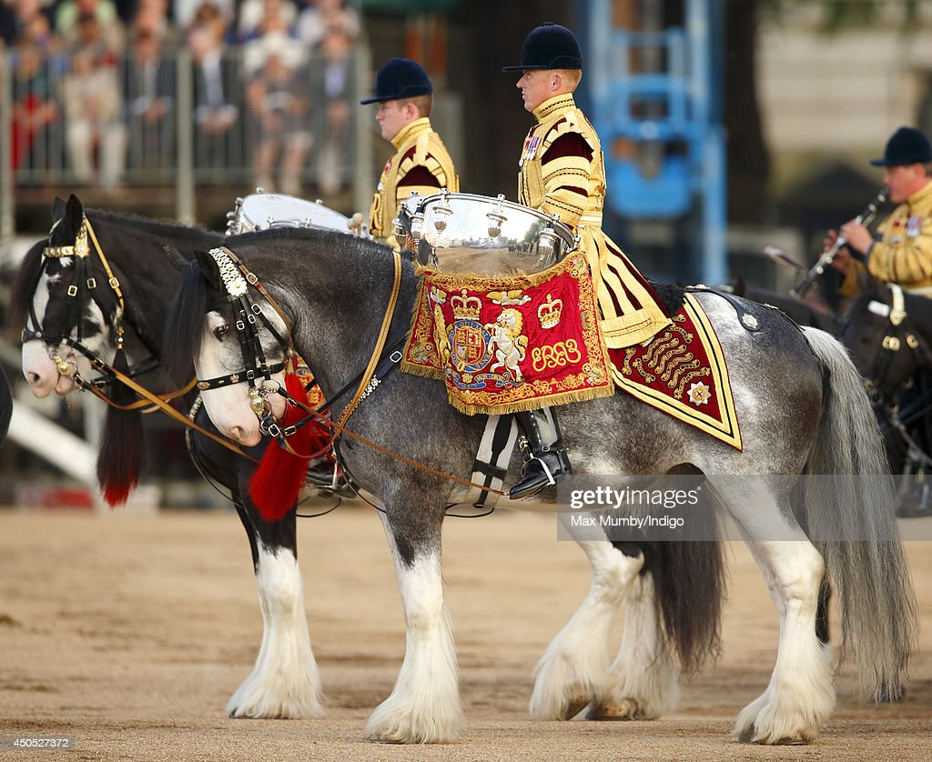 Drum Horses of the Household Cavalry perform in the Household Division's Beating Retreat, watched by Prince William, Duke of Cambridge on Horse Guards Parade on June 12, 2014 in London, England.