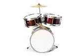 Set of three drums with cymbal and drum sticks