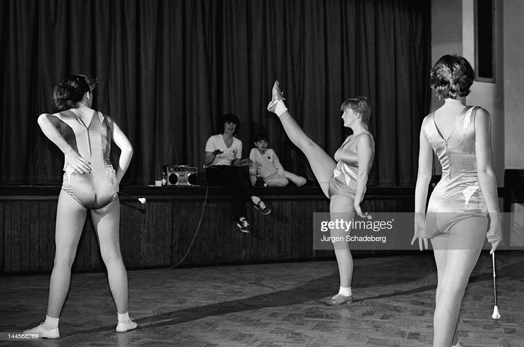 Drum majorettes rehearse at a London community hall, 1982.