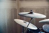 Drum set in a Garage