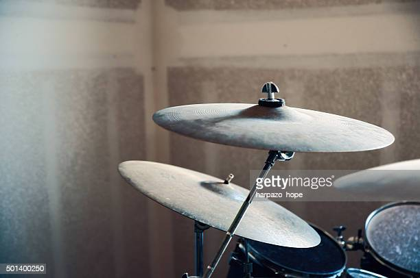Drum set in a Garage