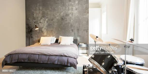 Drum set in modern bedroom