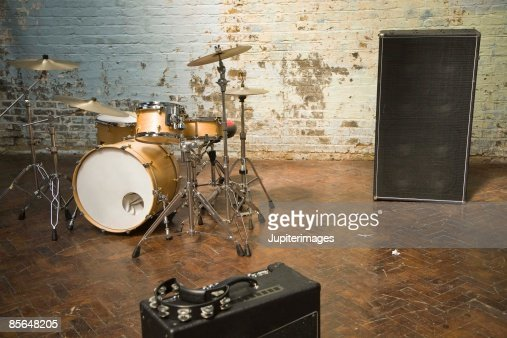 Drum set with speakers : Stock Photo
