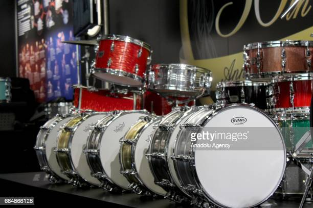 Drum sets and kits are presented at the International Trade Fair for musical instruments sheet music music production and marketing 'Musikmesse'...