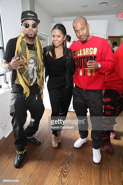 Drumma Boy Angela Yee and SpadeO attends A Live Episodic Introduction Of Darnaa Hosted By Angela Yee at Le Foret New Orleans on February 16 2014 in...