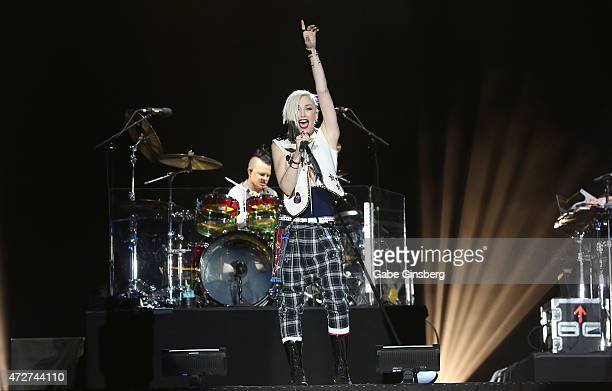 Drummer Adrian Young and singer Gwen Stefani of No Doubt performs during Rock in Rio USA at the MGM Resorts Festival Grounds on May 8 2015 in Las...