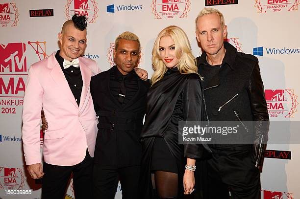 Drummer Adrian Young Bassist Tony Kanal singer Gwen Stefani and guitarist Tom Dumont of No Doubt attend the MTV EMA's 2012 at Festhalle Frankfurt on...