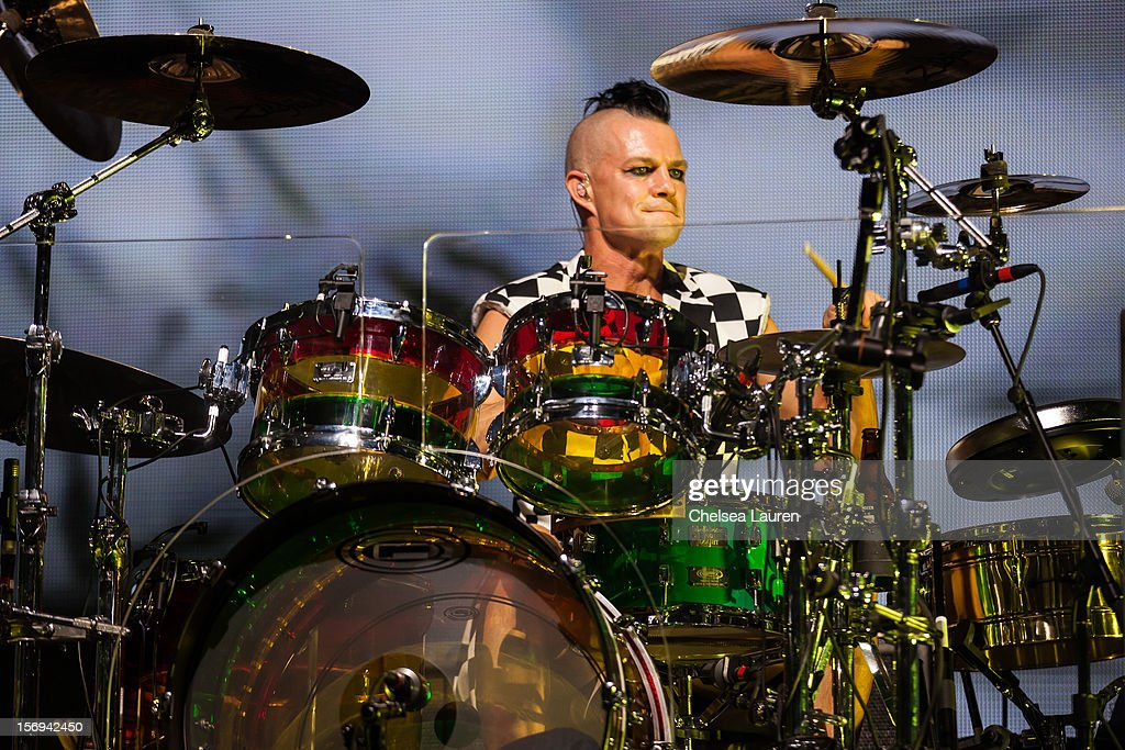 Drummer <a gi-track='captionPersonalityLinkClicked' href=/galleries/search?phrase=Adrian+Young&family=editorial&specificpeople=213613 ng-click='$event.stopPropagation()'>Adrian Young</a> of No Doubt performs at Gibson Amphitheatre on November 24, 2012 in Universal City, California.