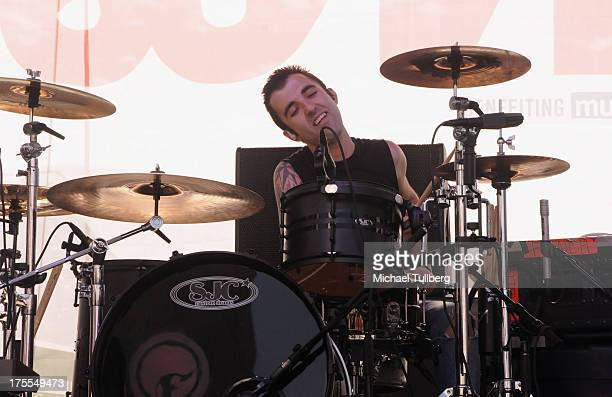 Drummer Alex Pappas of the rock group Finch performs live on day 3 of the 6th Annual Sunset Strip Music Festival on August 3 2013 in West Hollywood...