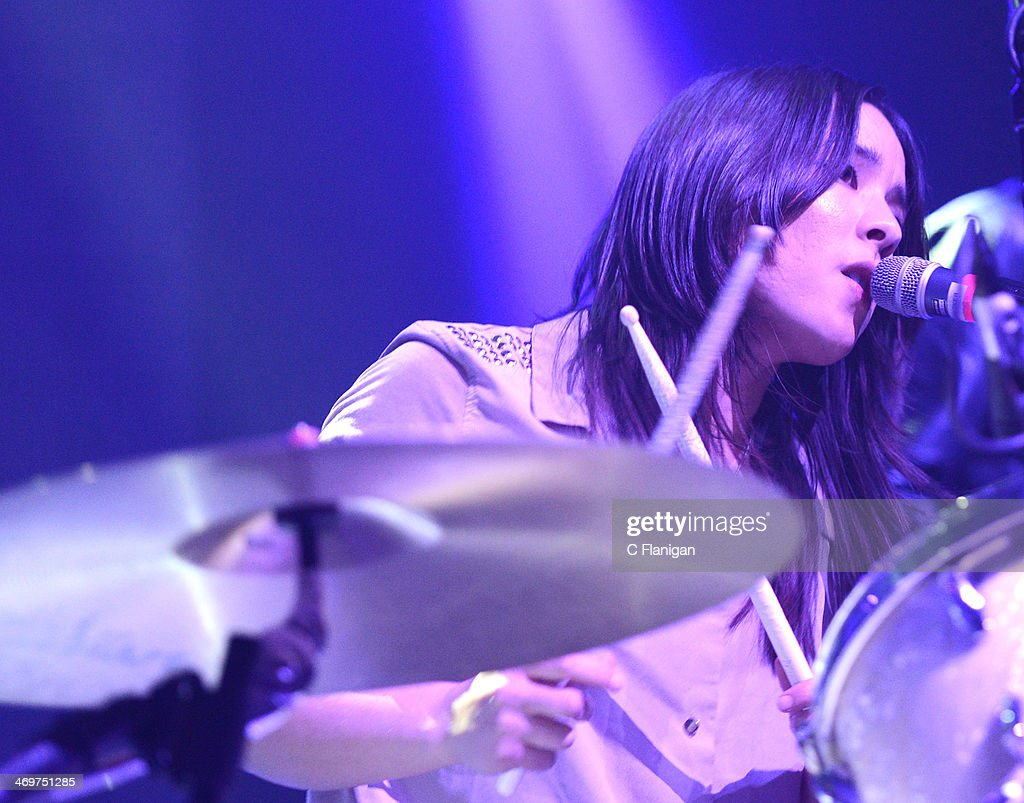 Drummer and Vocalist Maya Tuttle of The Colourist performs at The Fox Theatre on February 15, 2014 in Oakland, California.