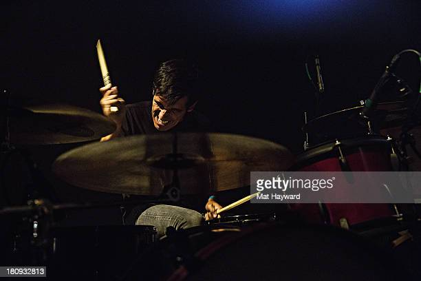 Drummer Andy Lum of My Goodness performs on stage at the Crocodile on September 17 2013 in Seattle Washington