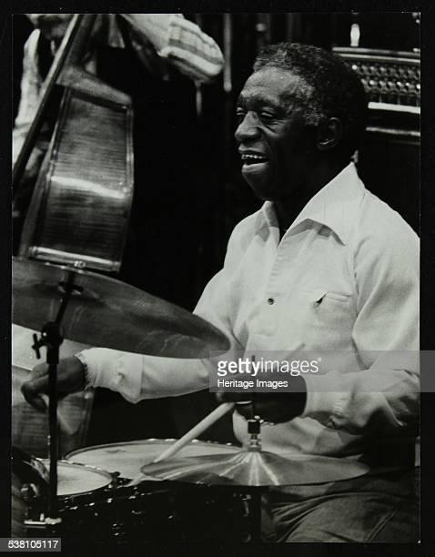 Drummer Art Blakey playing at the Forum Theatre Hatfield Hertfordshire 1978 Artist Denis Williams