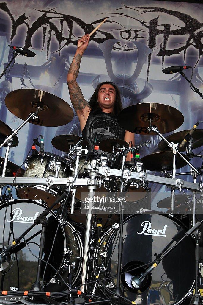 Drummer Arturo 'Art' Cruz of Winds of Plague performs at the 2010 Rockstar Energy Drink Mayhem Festival at San Manuel Amphitheater on July 10 2010 in...