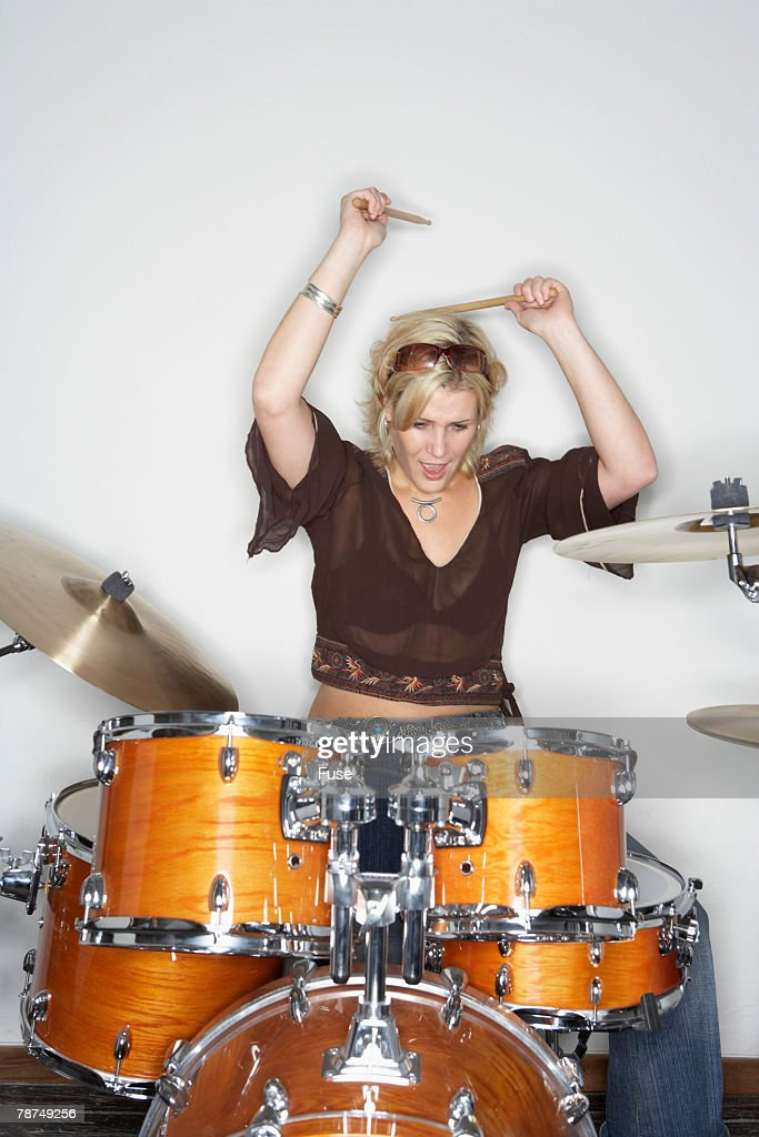 Drummer Behind Drum Kit : Stock Photo