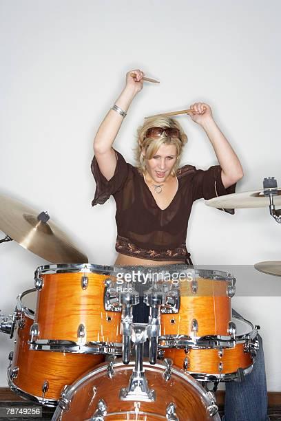 Drummer Behind Drum Kit