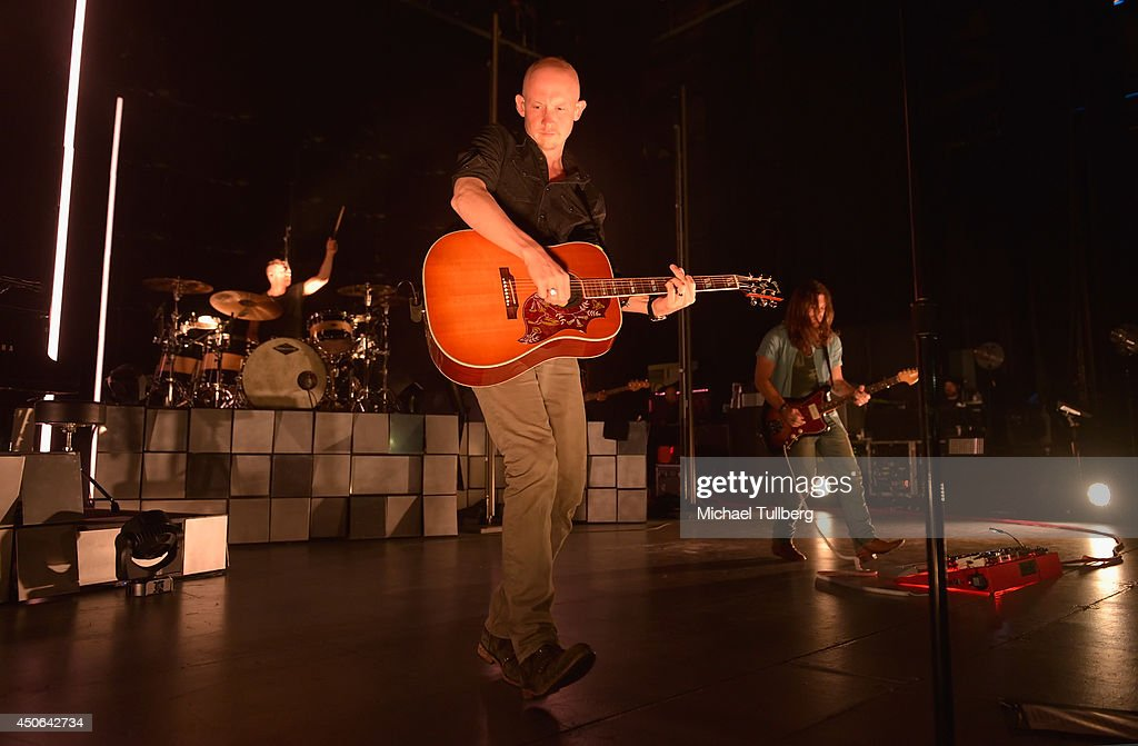 Drummer Ben Wysocki, vocalist Isaac Slade and guitarist Dave Welsh of The Fray perform at The Greek Theatre on June 14, 2014 in Los Angeles, California.