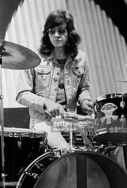Drummer Bev Bevan rehearsing with English pop group Electric Light Orchestra for their appearance on the BBC TV music show 'Top Of The Pops' London...