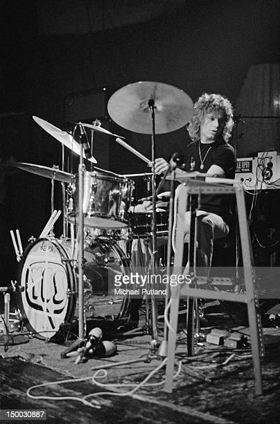 Drummer Bill Bruford performing with English rock group Yes at the Roundhouse during the Camden Festival London 25th April 1971