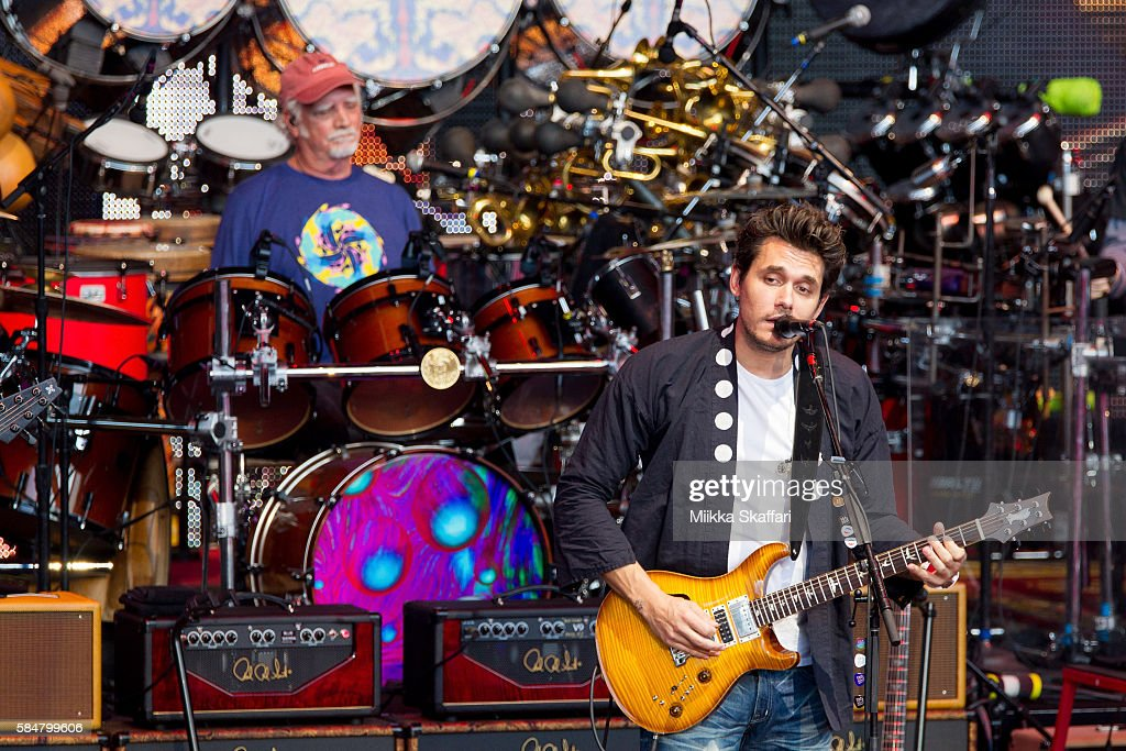 Drummer Bill Kreutzmann and guitarist John Mayerof Dead and Company perform at Shoreline Amphitheatre on July 30, 2016 in Mountain View, California.