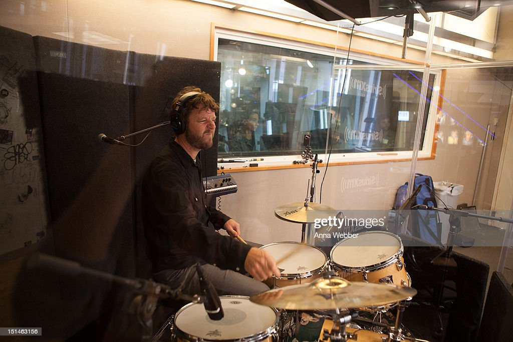 Drummer Billy Martin of Medeski, Martin & Wood performs during Medeski, Martin & Wood on SiriusXM's Jam_On and Real Jazz channels in the SiriusXM studios on September 7, 2012 in New York City.