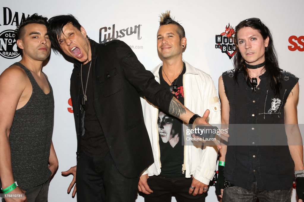 Drummer Bobby Amaro, vocalist Jay Gordon, bassist Nic Speck and guitarist Carlton Bost of Orgy arrive at the 6th annual Sunset Strip Music Festival launch party honoring Joan Jett at House of Blues Sunset Strip on August 1, 2013 in West Hollywood, California.