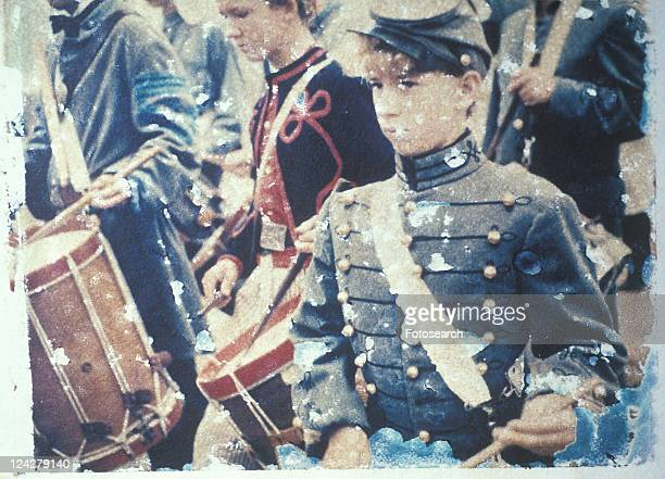 Drummer boys during Civil War reenactment of Battle of Bull Run