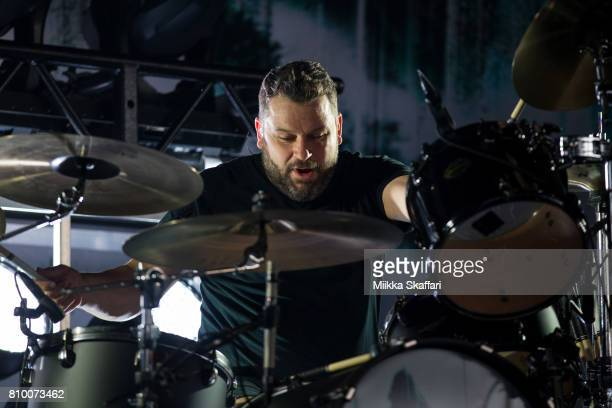 Drummer Brandon Barnes of Rise Against performs at Concord Pavilion on July 6 2017 in Concord California