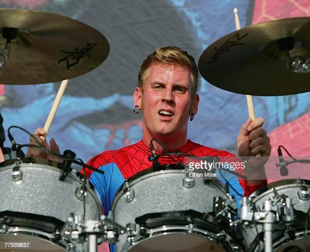 Drummer Brann Dailor of the band Mastodon performs during the Vegoose music festival at Sam Boyd Stadium's Star Nursery Field October 27 2007 in Las...