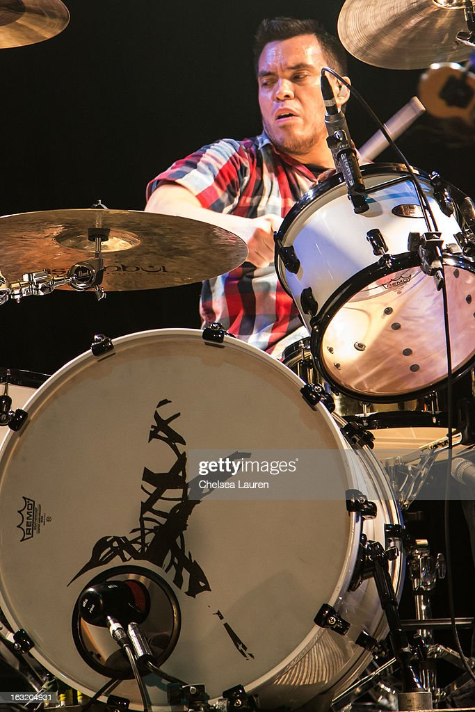 Drummer Brian Vodinh of 10 Years performs at Key Club on March 5, 2013 in West Hollywood, California.