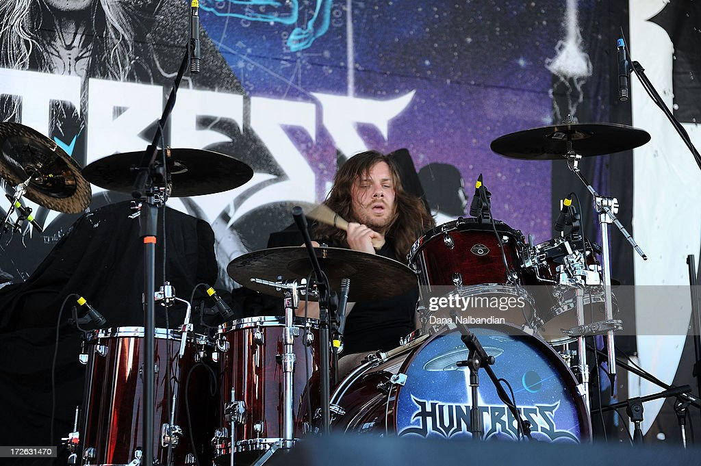 Drummer Car; Wierzbicky of Huntress performs at Mayhem Festival on July 3, 2013 in Auburn, Washington.