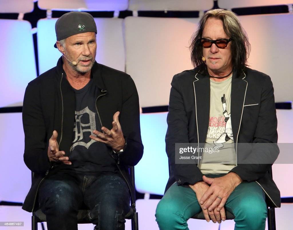 Drummer <a gi-track='captionPersonalityLinkClicked' href=/galleries/search?phrase=Chad+Smith+-+Drummer&family=editorial&specificpeople=12809050 ng-click='$event.stopPropagation()'>Chad Smith</a> and ecording artist <a gi-track='captionPersonalityLinkClicked' href=/galleries/search?phrase=Todd+Rundgren&family=editorial&specificpeople=669124 ng-click='$event.stopPropagation()'>Todd Rundgren</a> attend the 2014 National Association of Music Merchants show at the Anaheim Convention Center on January 24, 2014 in Anaheim, California.