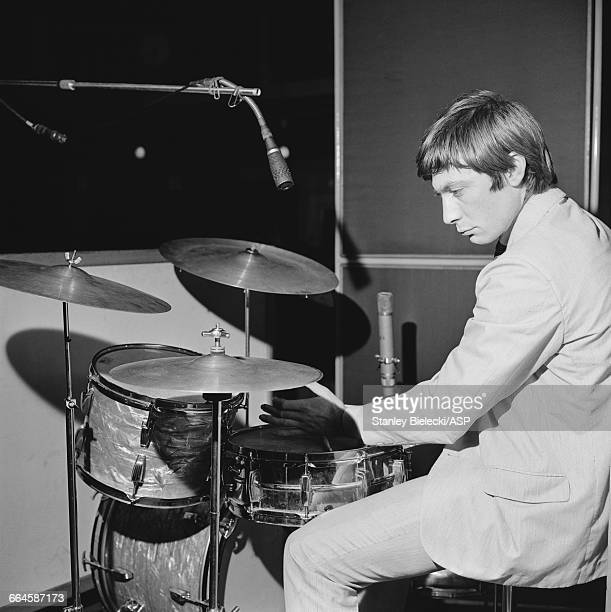 Drummer Charlie Watts of the Rolling Stones at a BBC radio recording session at the Playhouse Theatre London circa 1965