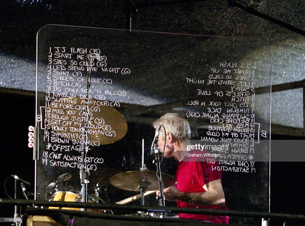 Drummer Charlie Watts of the Rolling Stones behind a large perspex set list for a concert at Don Valley Stadium, Sheffield, during the 'A Bigger Bang' tour, 27th August 2006.