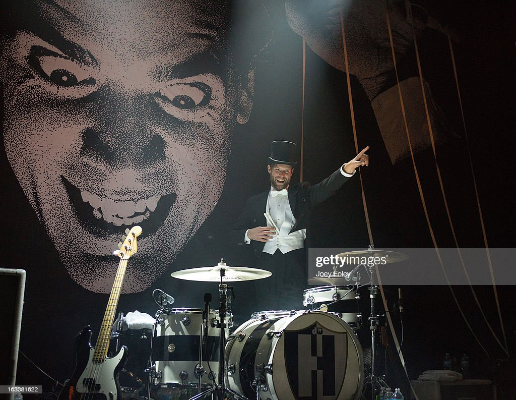 Drummer Chris Dangerous of The Hives performs onstage in concert at The Vogue on March 4, 2013 in Indianapolis, Indiana.