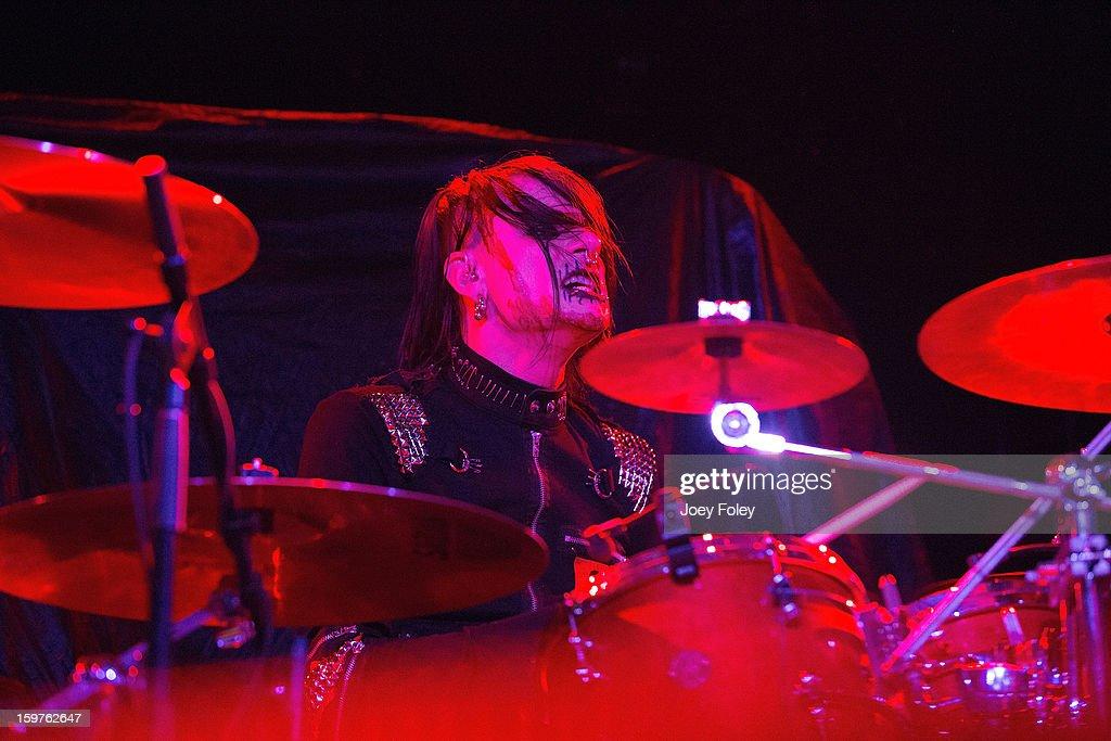 Drummer Chrissy Warner of Butcher Babies performs onstage at Bogart's on January 19, 2013 in Cincinnati, Ohio.
