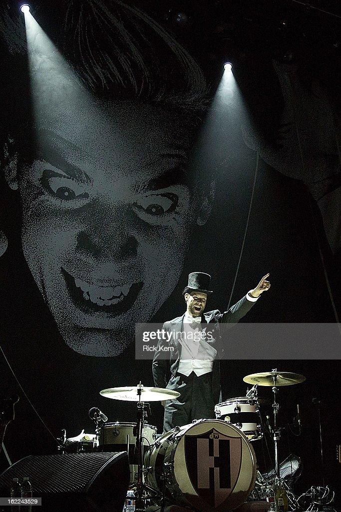 Drummer Christian Grahn aka Chris Dangerous of The Hives performs at Emo's East on February 20, 2013 in Austin, Texas.