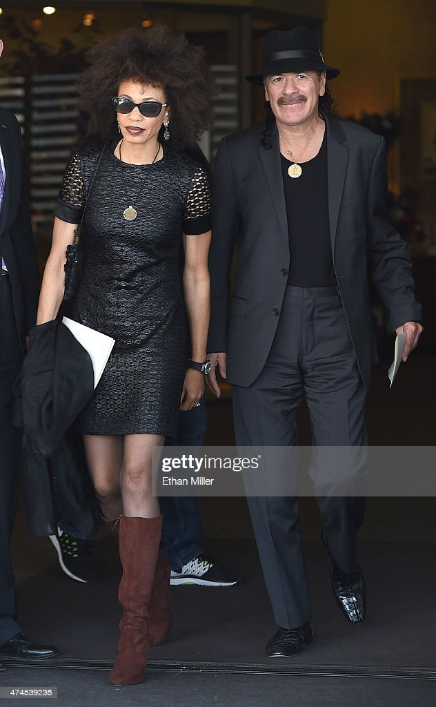 Drummer Cindy Blackman (L) and her husband, recording artist Carlos Santana, leave a funeral for blues musician B.B. King at Palm Downtown Mortuary & Cemetery on May 23, 2015 in Las Vegas, Nevada. King died on May 14 in Las Vegas at age 89.