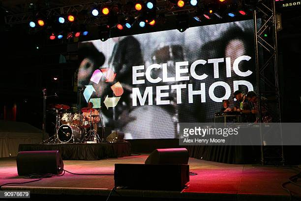 Drummer Clyde Stubblefield and DJ's Geoff Gamlen Ian Edgar and Jonny Wilson of Eclectic Method perform on stage during the Wrap Party/Eclectic Method...