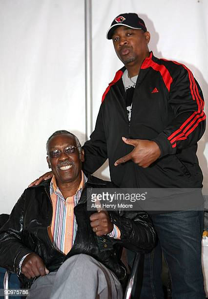 Drummer Clyde Stubblefield and rapper Chuck D ahead of the Wrap Party/Eclectic Method remixes The Essential 100 at Yonge and Dundas Square during the...
